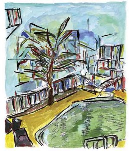 'Motel Pool', painting by Bob Dylan
