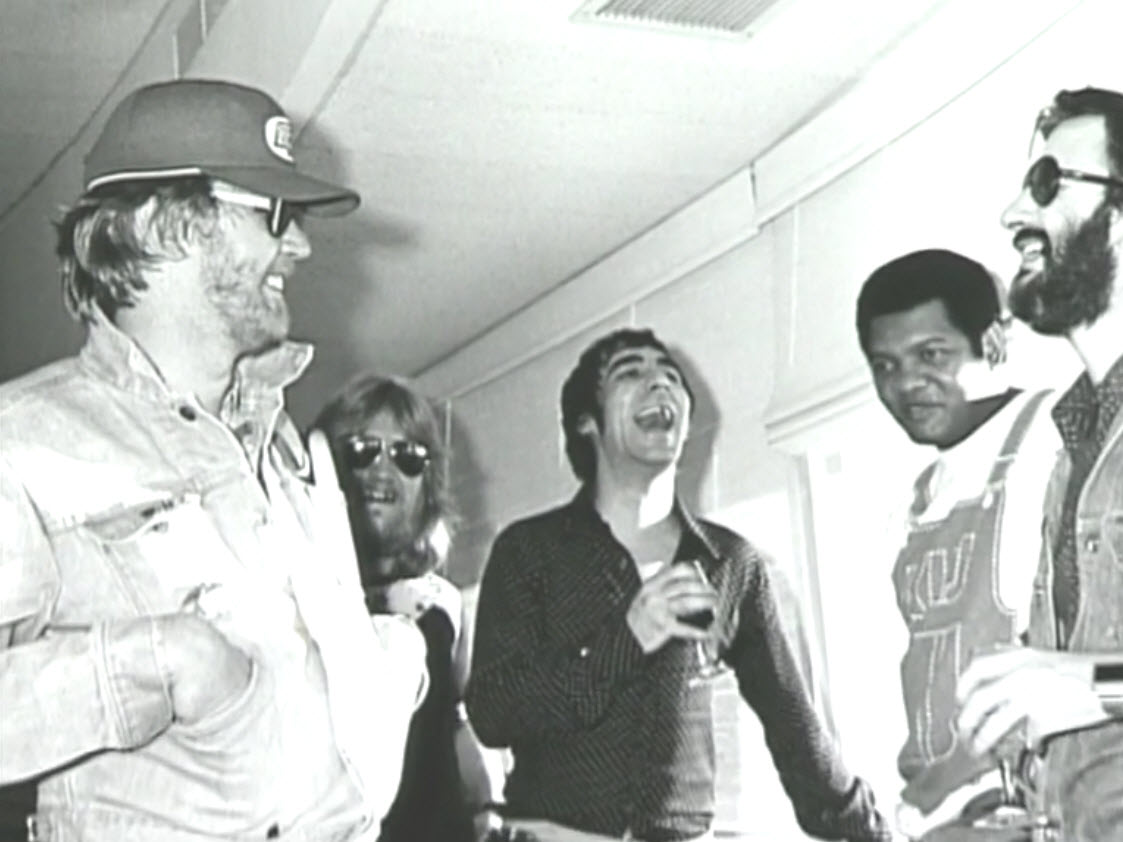 Nilsson with percussionist buddies Keith Moon (center), Ringo (right)
